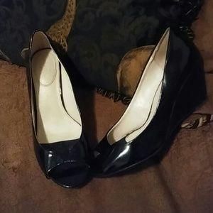 Shiny black wedges with peep toe- size 8.5